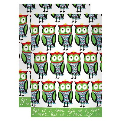2pk Designer Print Kitchen Towels Hoot - MU Kitchen