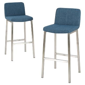 "30"" Vasos Fabric Barstool Steel/Blue (Set of 2) - Christopher Knight Home"