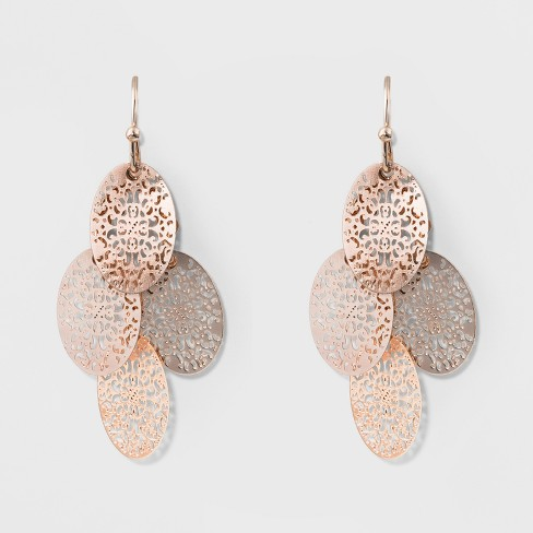Filigree Chandelier Earrings - A New Day™ Rose Gold - image 1 of 2