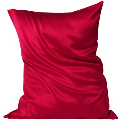 1 Pc Queen Silk for Hair and Skin Pillowcase Red - PiccoCasa
