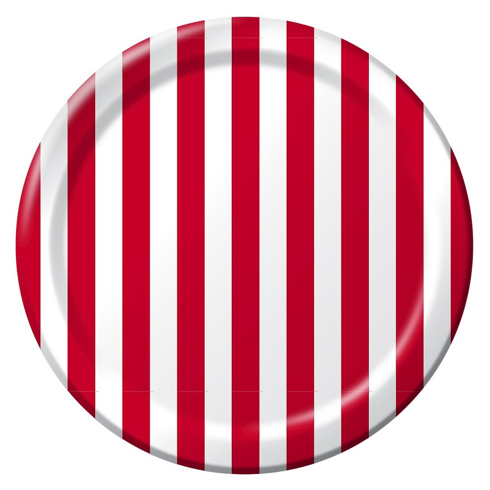 9 Red Printed Paper Plates - 10ct - Spritz