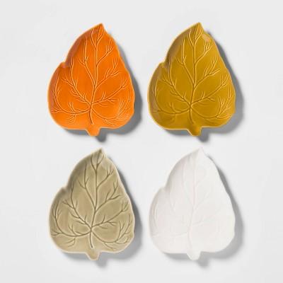 8  4pk Stoneware Leaf Appetizer Plates - Threshold™