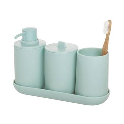 4pc Cade Bathroom Set Aqua - iDesign