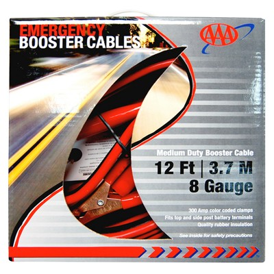 AAA Medium-Duty 8-Guage 12' Booster Cables