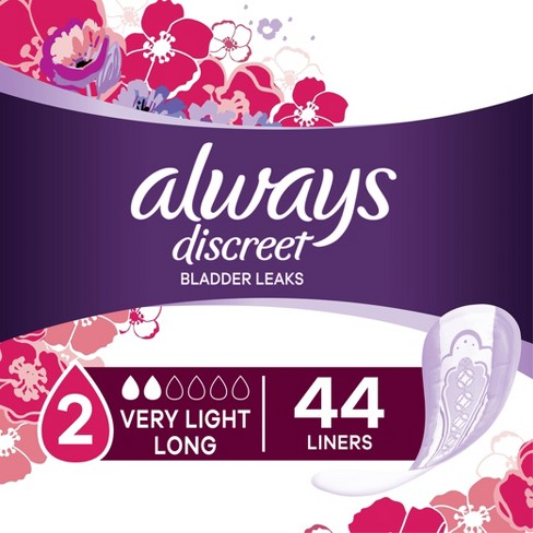 Always Discreet Incontinence and Postpartum Liners - Very Light Absorbency - Long Length - 44ct - image 1 of 4