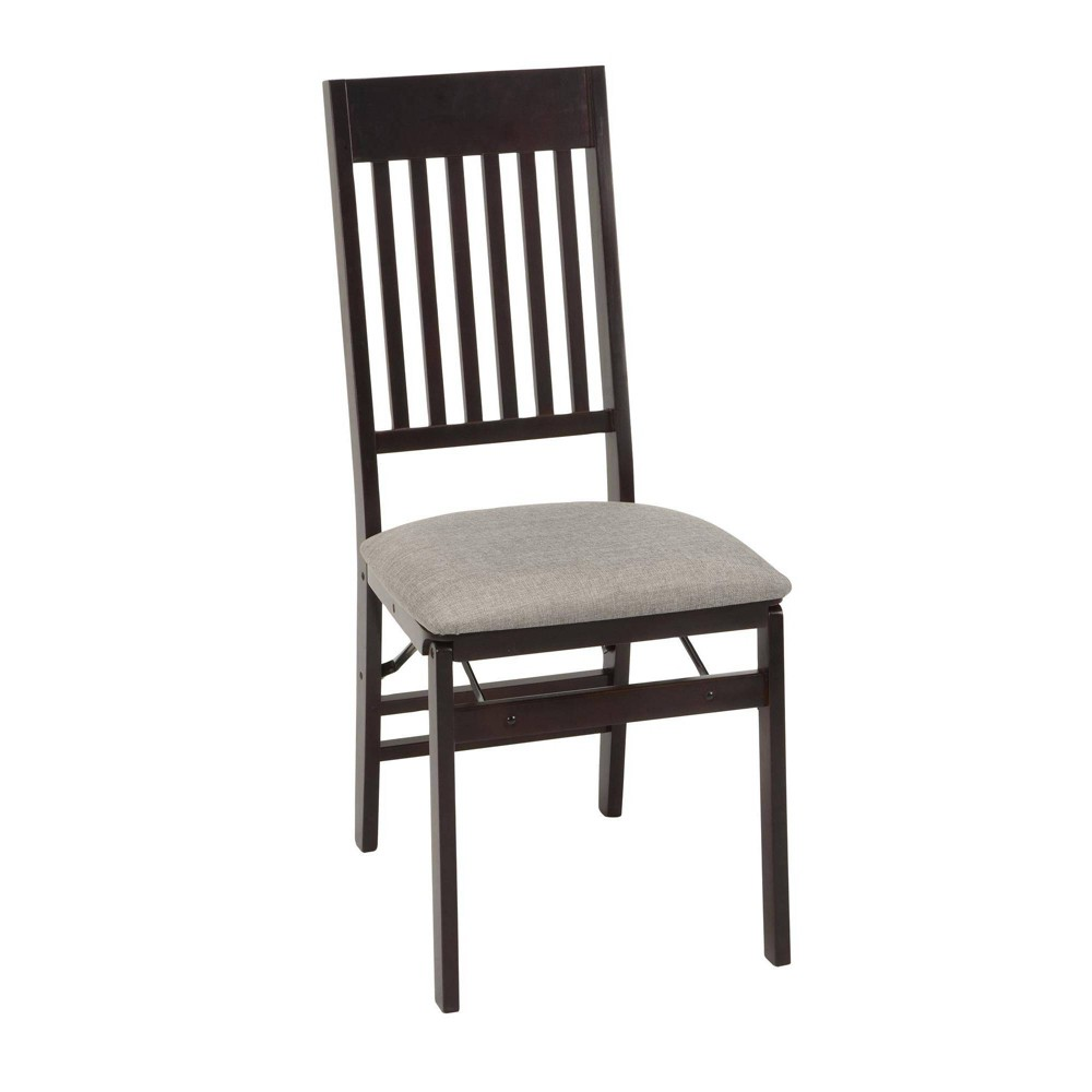 Image of Cosco 2pk Mission Back Folding Chair with Fabric Seat Espresso Brown