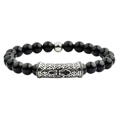 Men S Crucible Natural Stone Beaded Bracelet With Fleur De Lis Id Black Onyx Size 8mm