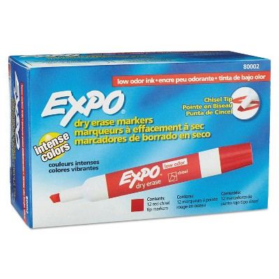EXPO Low Odor Dry Erase Marker Chisel Tip Red Dozen 80002