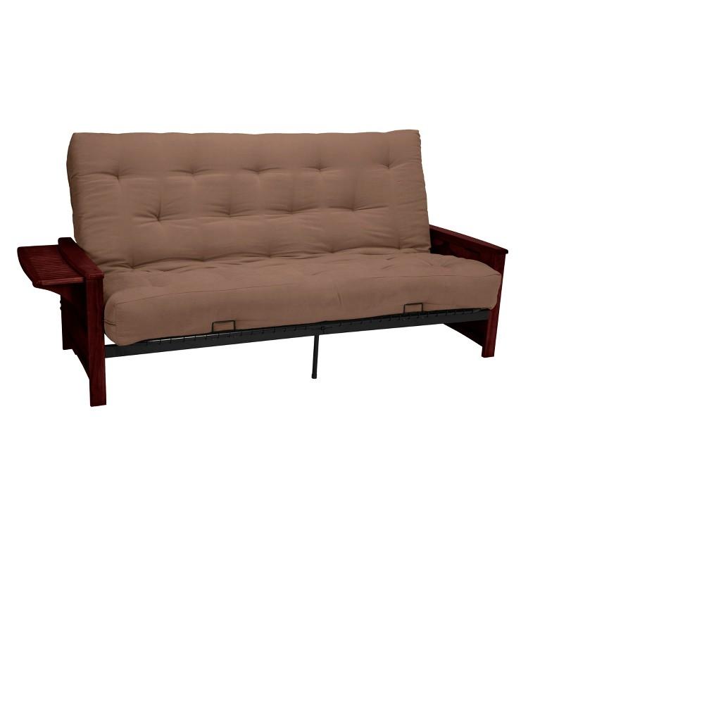Brooklyn 8 Inner Spring Futon Sofa Sleeper - Mahogany Wood Finish - Epic Furnishings, Pecan