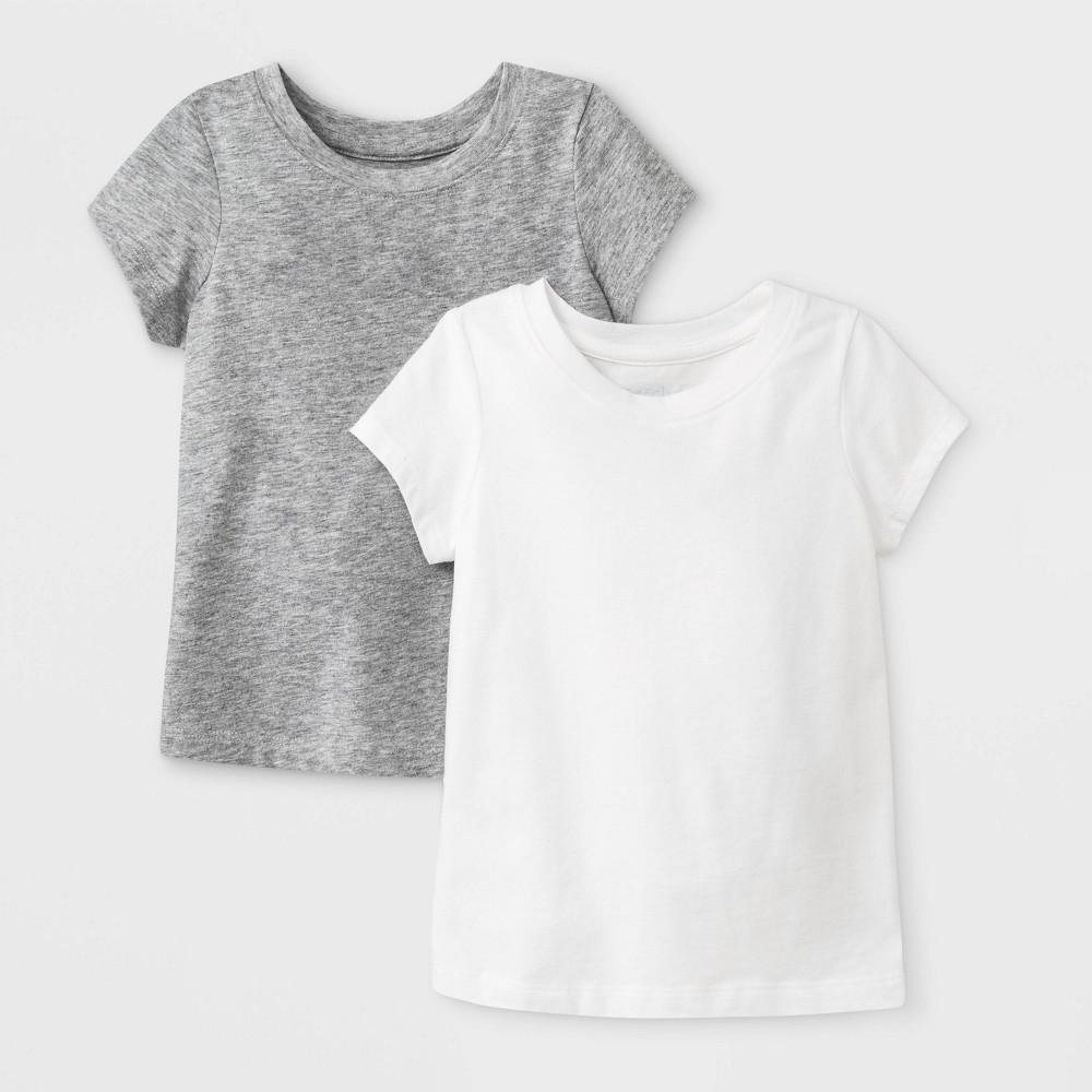 Toddler Girls 2pk Solid Short Sleeve T-Shirt - Cat & Jack Gray/White 2T Promos