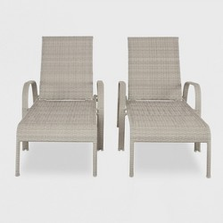 Southcrest 2pk Stack Wicker Chaise Lounge Gray - Threshold™