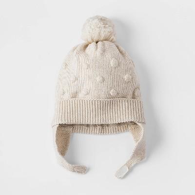 Baby Girls' Bobble Hat - Cat & Jack™ Cream Newborn