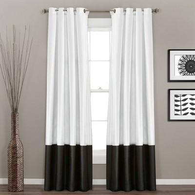 "Set of 2 95""x54"" Prima Light Filtering Window Curtain Panels Black/White - Lush Décor"