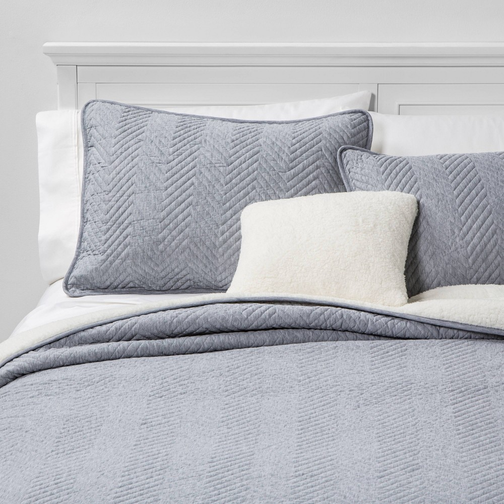 Image of Calgary Full/Queen 4pc Sherpa Quilt Set Gray