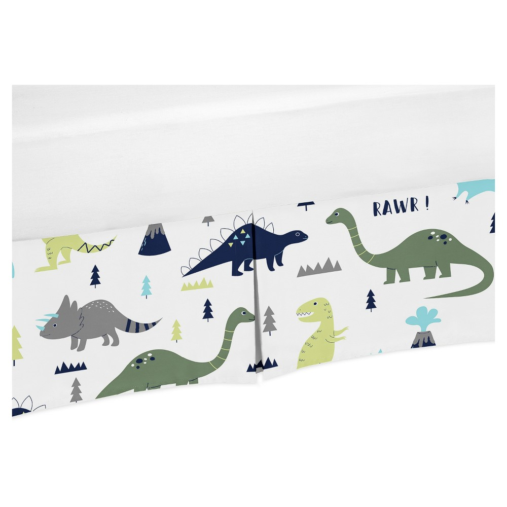 Image of Sweet Jojo Designs Crib Skirt - Blue & Green Mod Dino - Print, White Green Blue