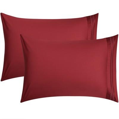 """2 Pcs 20""""x26"""" Long-Staple Combed Cotton Envelope Pillow Cases Burgundy - PiccoCasa"""