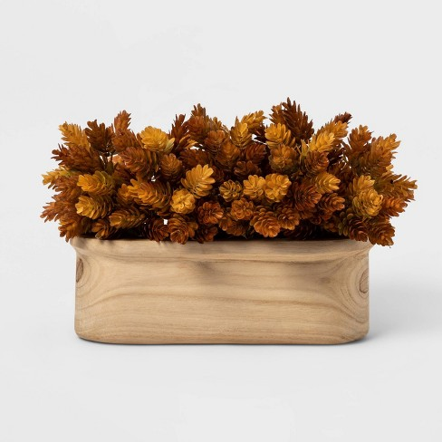 """14"""" x 9"""" Artificial Hops Arrangement in Ceramic Pot Brown/White - Threshold™ - image 1 of 1"""