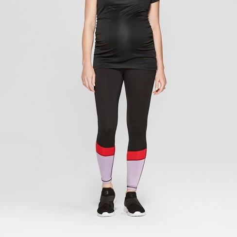 Maternity Colorblock Active Wear Leggings - Isabel Maternity by Ingrid & Isabel™ Black - image 1 of 5