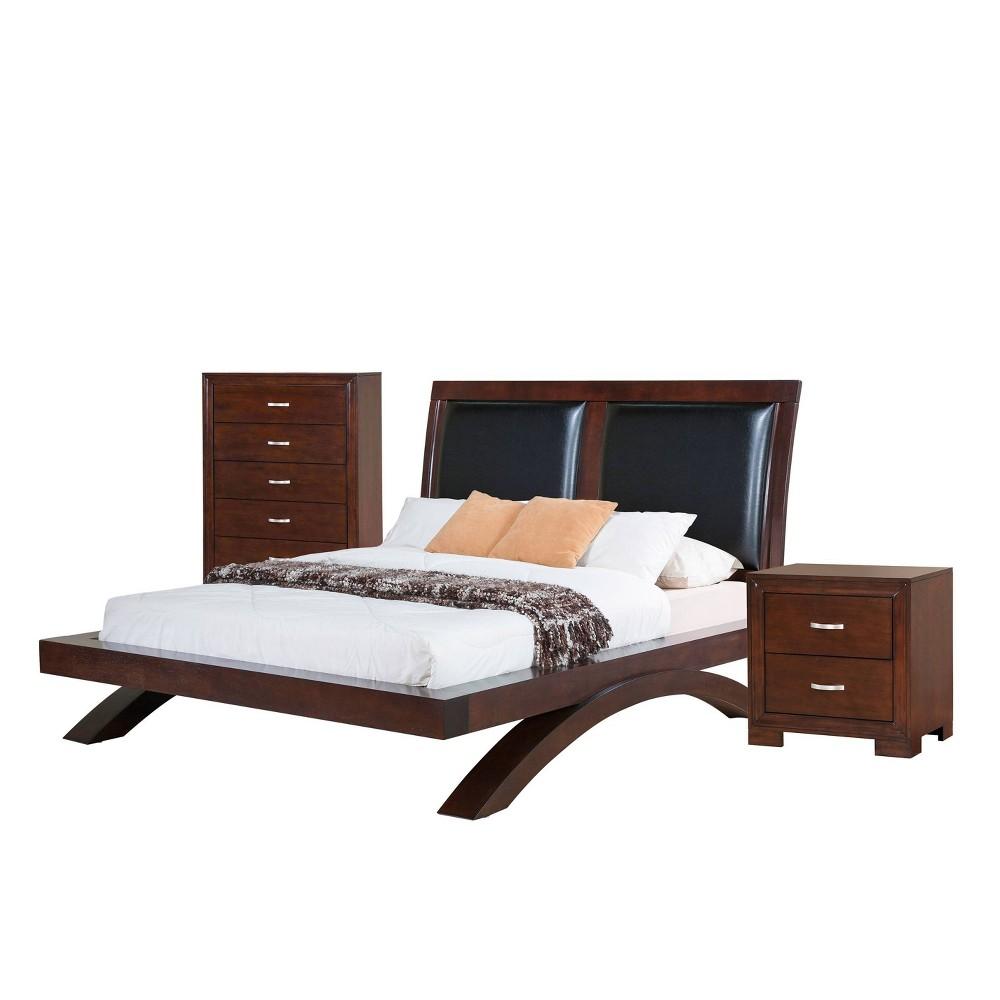 3pc Queen Zoe Platform with Upholstered Headboard Bedroom Set Espresso Brown - Picket House Furnishings