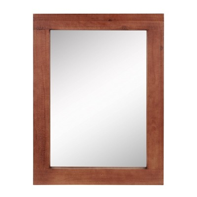 Rectangle Worn Wood Decorative Wall Mirror Stratford Maroon - Stonebriar Collection