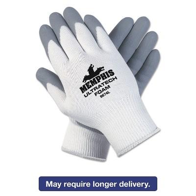 Memphis Ultra Tech Foam Seamless Nylon Knit Gloves X-Large White/Gray Dozen 9674XLDZ