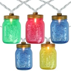 Northlight 10-Count Multi-Color Mini Mason Jar String Christmas Light Set, 7.5ft White Wire
