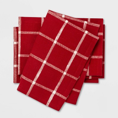 4pk Windowpane Plaid Napkins Red - Threshold™