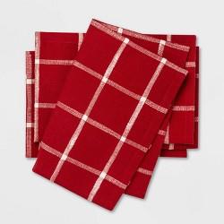 4pk Windowpane Plaid Napkins Red - Threshold™