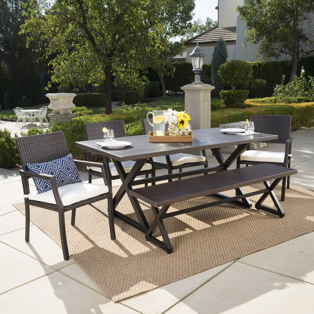 Sherman Oaks 6pc Aluminum/Wicker Patio Dining Set - Brown/White - Christopher Knight Home