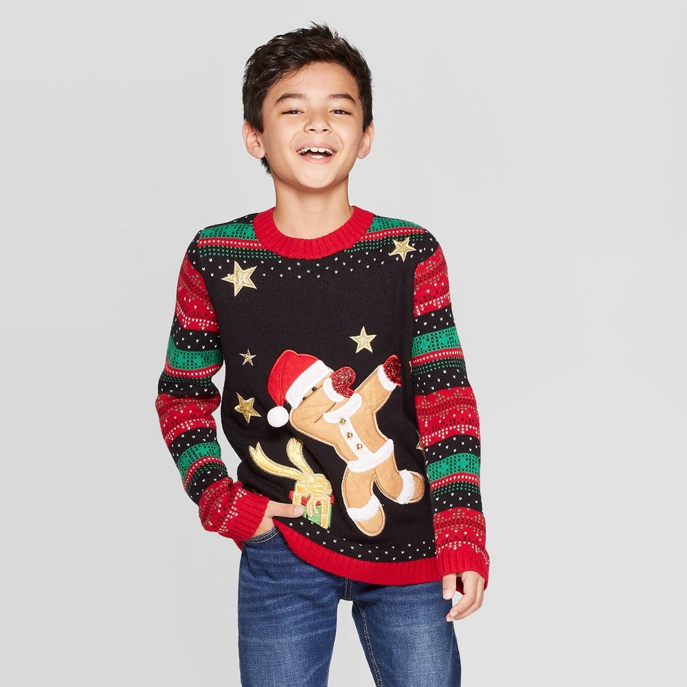 Image of Boys' Gingerbread Long Sleeve Sweater - 33 Degrees - Black L, Boy's, Size: Large