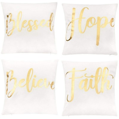 Juvale Throw Pillow Covers - 4-Pack Decorative Couch Throw Pillow Cases for Girls Woman, White Cover Gold Foil Lettering Design Cushion Covers, 17x17""