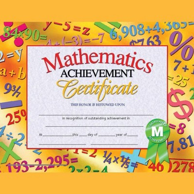 Hayes Mathematics Achievement Certificate, 11 x 8-1/2 inches, Paper, pk of 30
