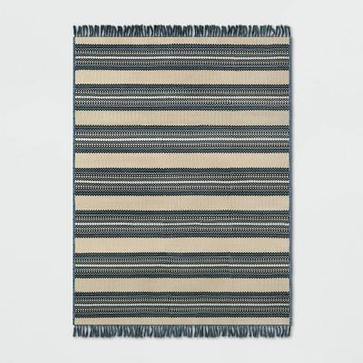 7' x 10' Stripe Outdoor Rug Blue/Beige - Threshold™