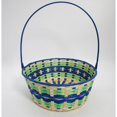 "15"" Bamboo Easter Basket Cool Colorway Blue Center - Spritz™"