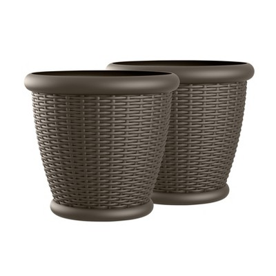 18  Willow Resin Wicker Decorative Planter 2 Pack - Brown - Suncast