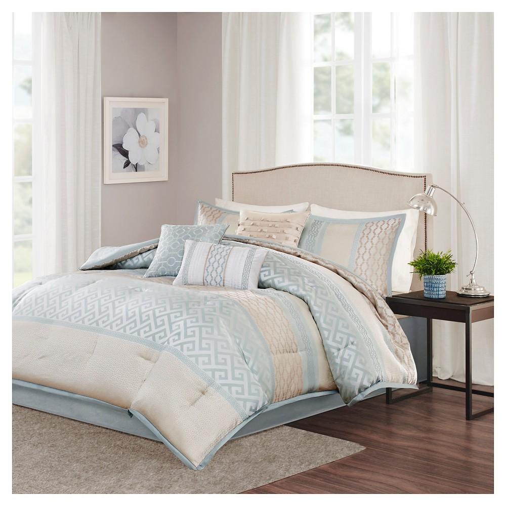 Cheap William Greek Key Print Comforter Set (King) Aqua - 7pc