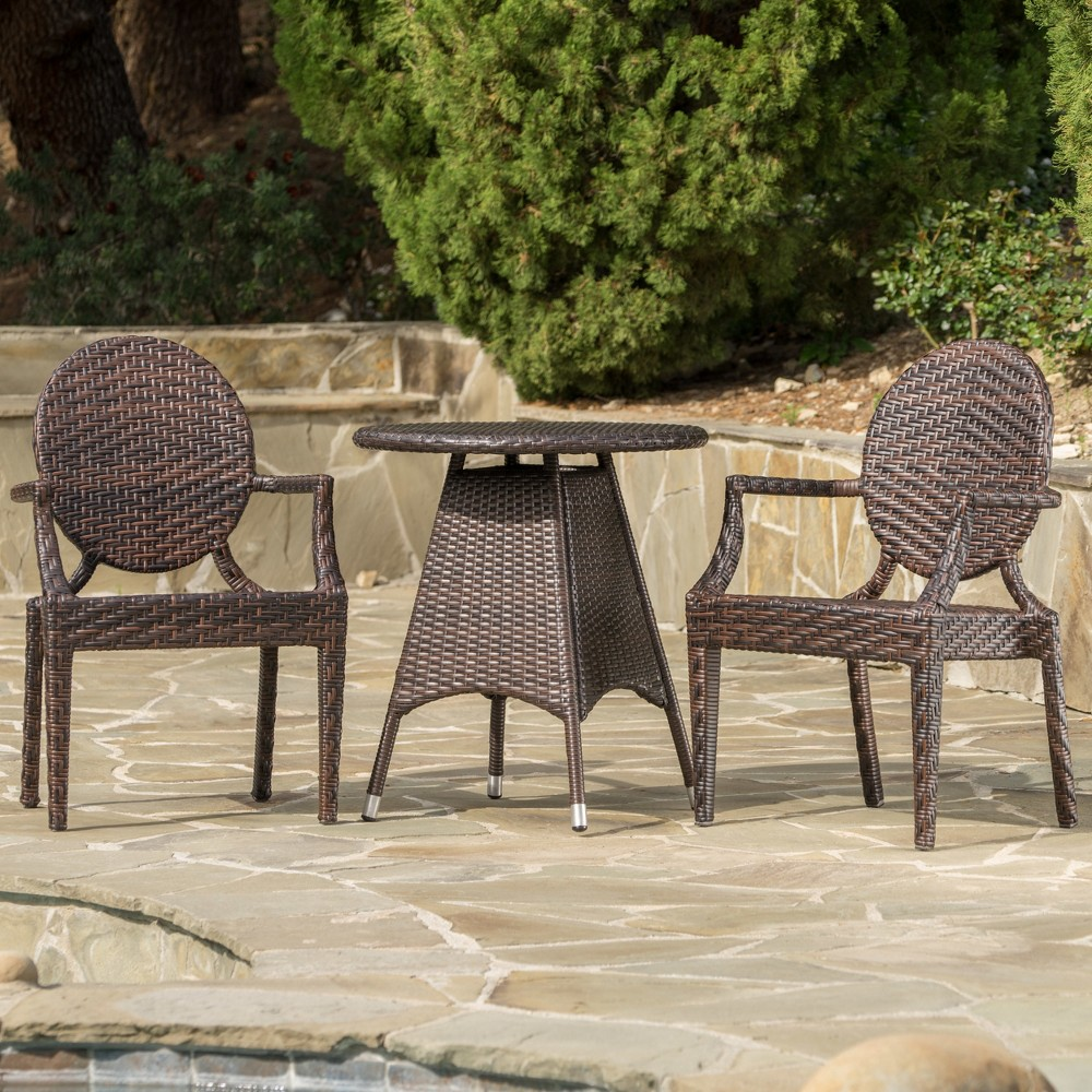 Delta 3pc Wicker Dining Set - Brown - Christopher Knight Home