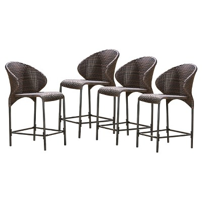 Oyster Bay Set of 4 Wicker Counterstool - Multibrown - Christopher Knight Home