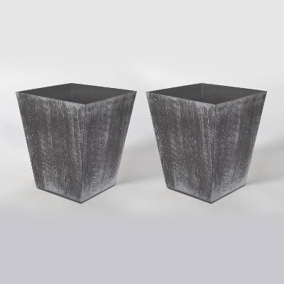 2pk 16  Square Resin Farmington Planters Gray - Suncast