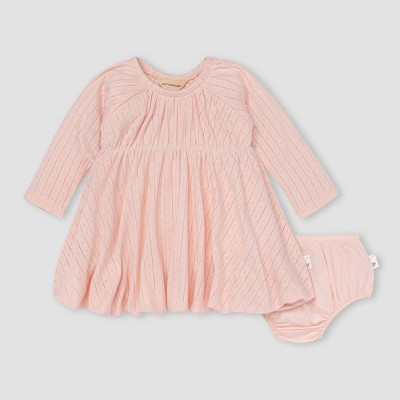 Burt's Bees Baby® Baby Girls' Pointelle Dress & Diaper Cover Set - Light Pink 3-6M