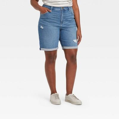 Women's Plus Size Destructed High-Rise Jean Shorts - Ava & Viv™ Blue