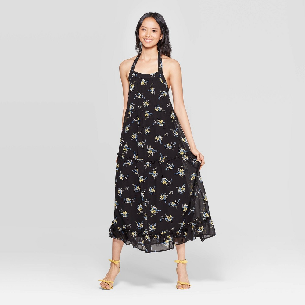 Image of Women's Floral Print Off the Shoulder Sleeveless Tiered Halter Maxi Dress - Who What Wear Black M