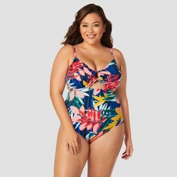 Women's Slimming Control Cut Out Drawstring One Piece Swimsuit - Beach Betty by Miracle Brands Blue Floral