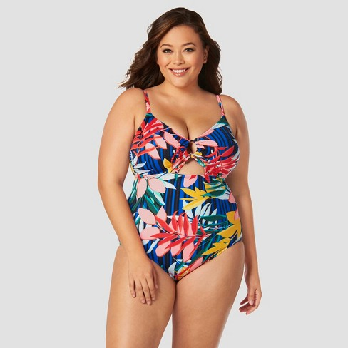 d551a4f8e0c Women s Slimming Control Cut Out Ring One Piece Swimsuit - Beach Betty by Miracle  Brands 1X