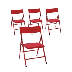 4pk Children's Pinch Free Folding Chair Red - Room & Joy