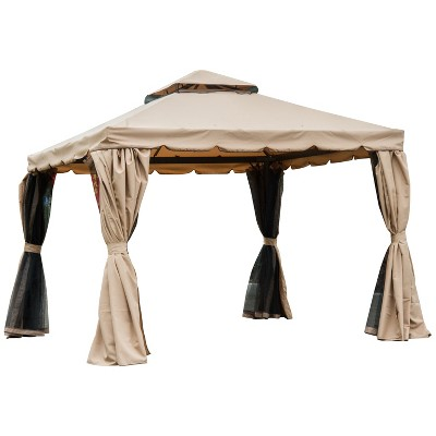 Outsunny 10' x 10' Outdoor Patio Gazebo with Beautiful Polyester Curtains, 2-Tier Roof, & Mesh Screen Drapes