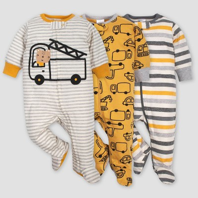 Gerber Baby Boys' 3pk Vehicle Sleep N' Play Pajamas - Gold/Gray 0-3M