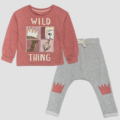 Toddler Girls' Where the Wild Things Are 2pc Sweatshirt and Jogger Set - Pink/Gray 12M