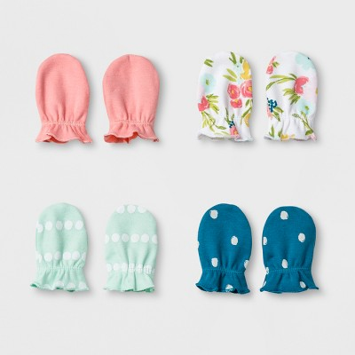 Baby Girls' 4pk Mitten Set Cloud Island™ - Coral/Mint Flora