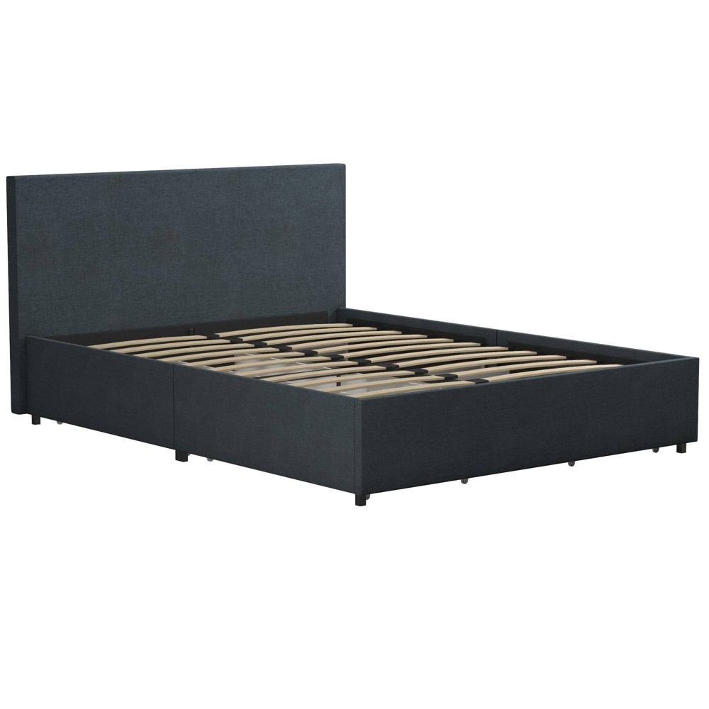 Image of Full Kelly Linen Upholstered Bed with Storage Navy - Novogratz